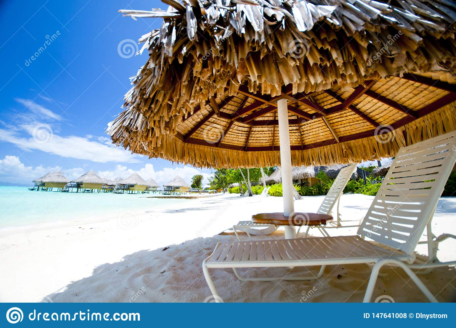 Marvelous Lounge Chairs Under Umbrella On The Beach Stock Photo Ocoug Best Dining Table And Chair Ideas Images Ocougorg