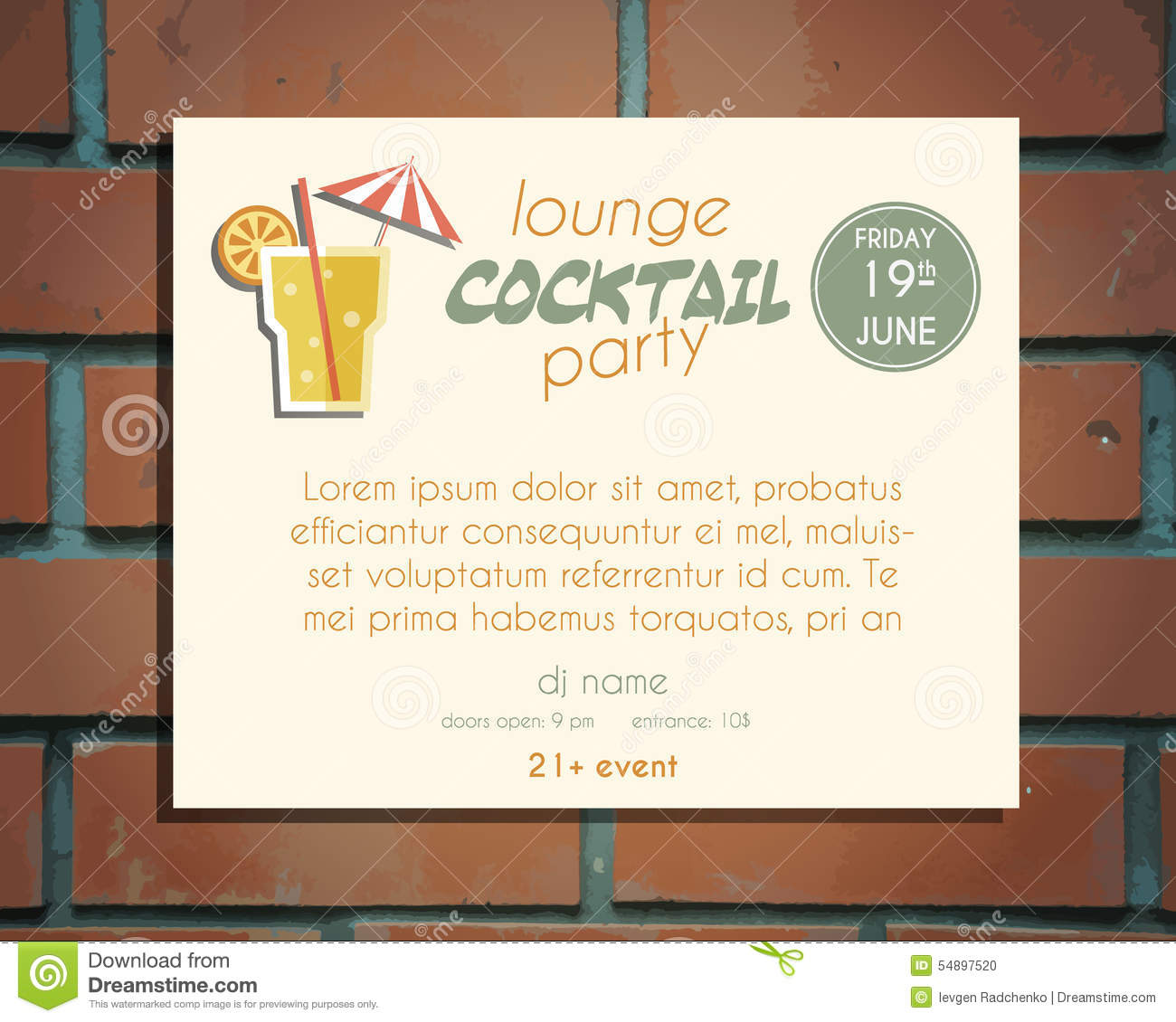Lounge Cocktail Party Poster Invitation Template Vector – Free Cocktail Party Invitation Templates