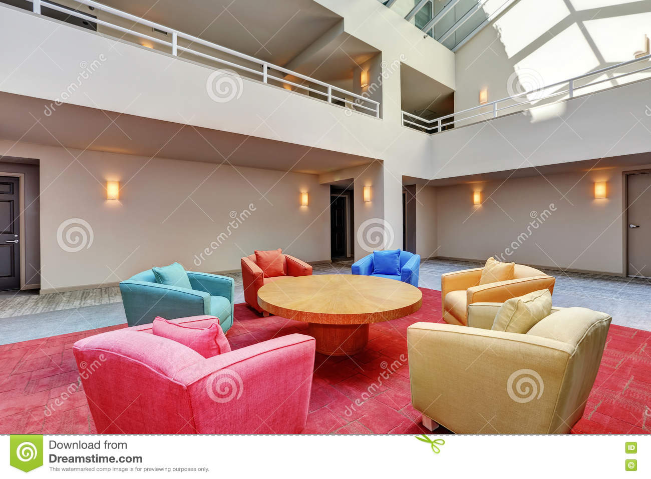 Lounge, Common Area Of Apartment Building. Interior Design. Stock ...