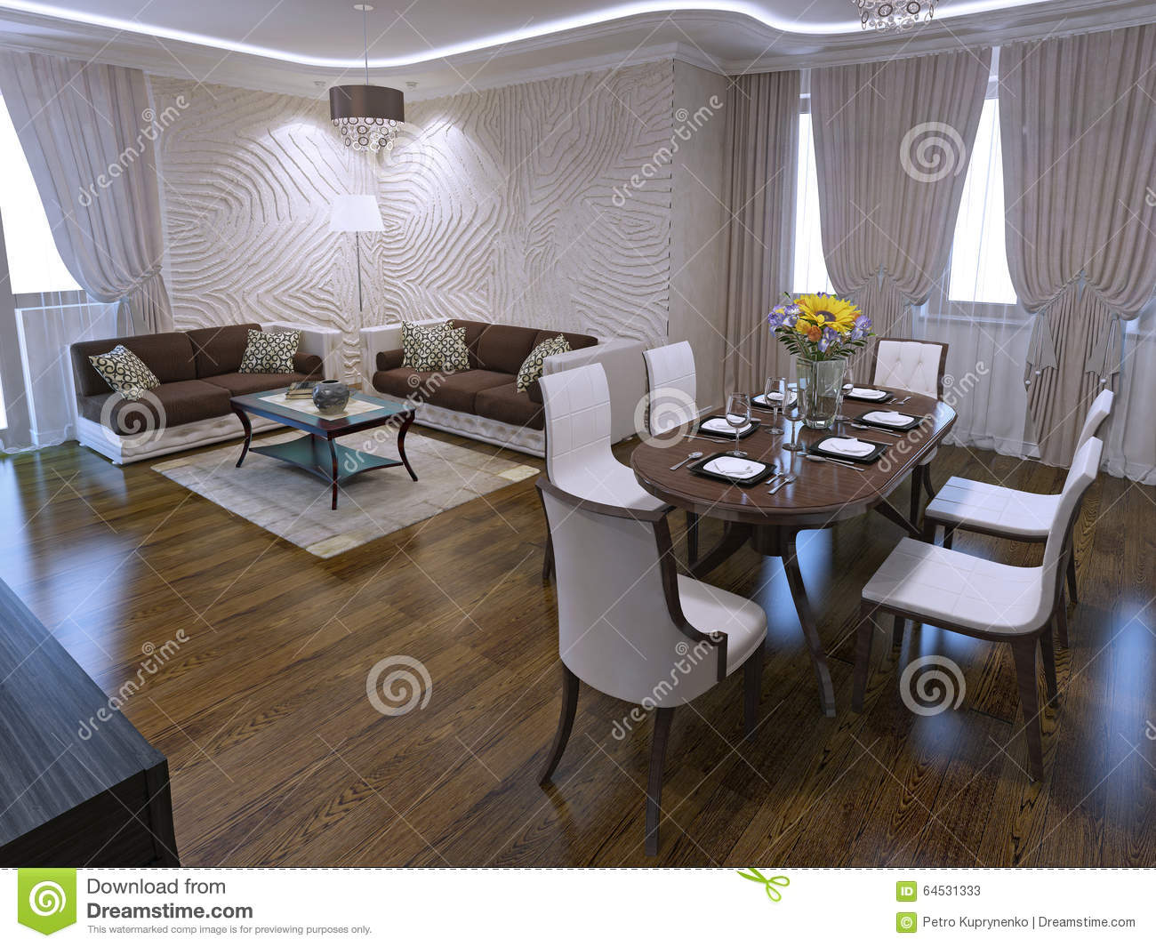 Lounge With Dining Table In Art Deco Design Stock Image - Image of ...
