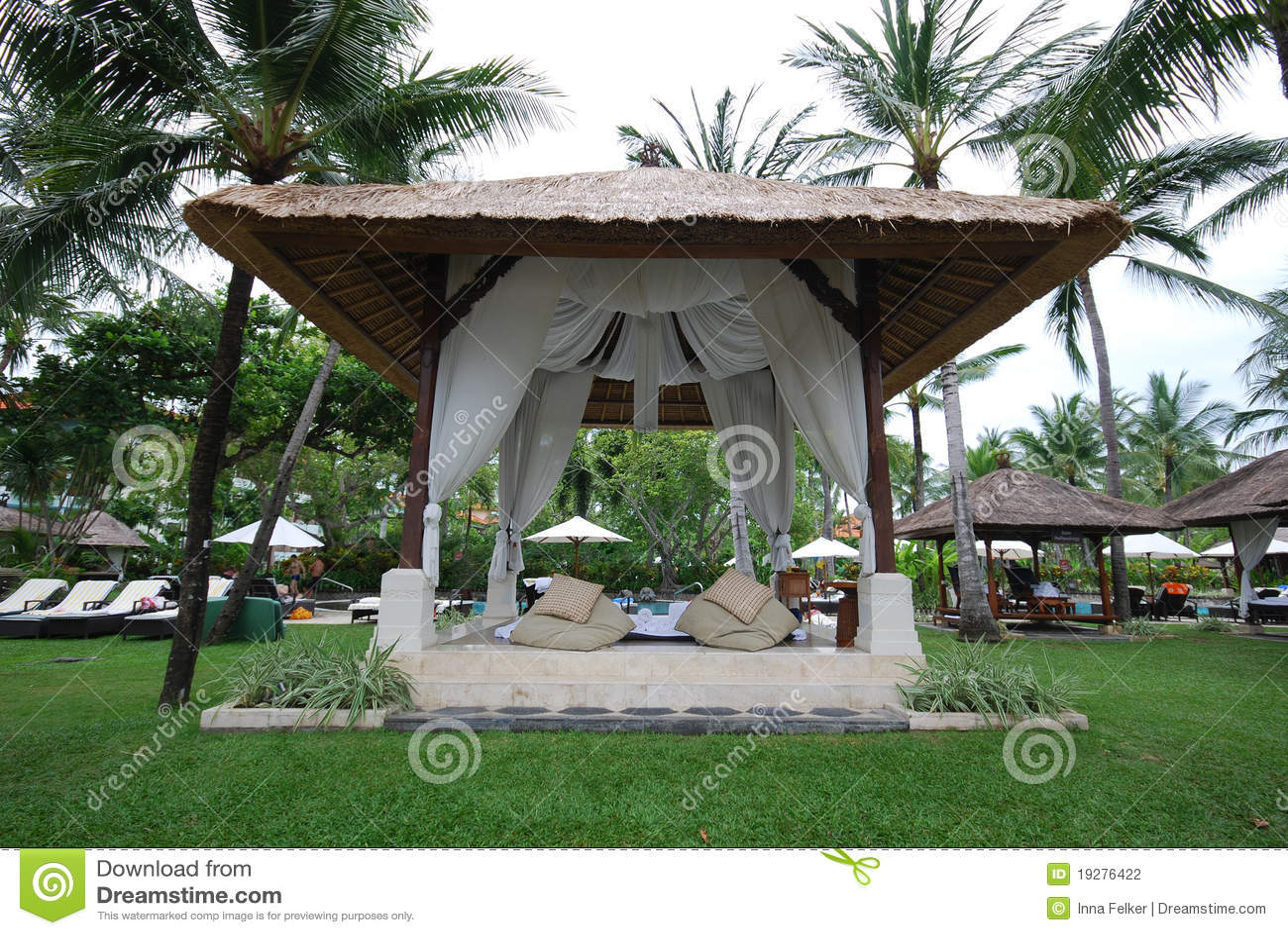 Lounge Gazebo At Tropical Resort Bali Stock Photo