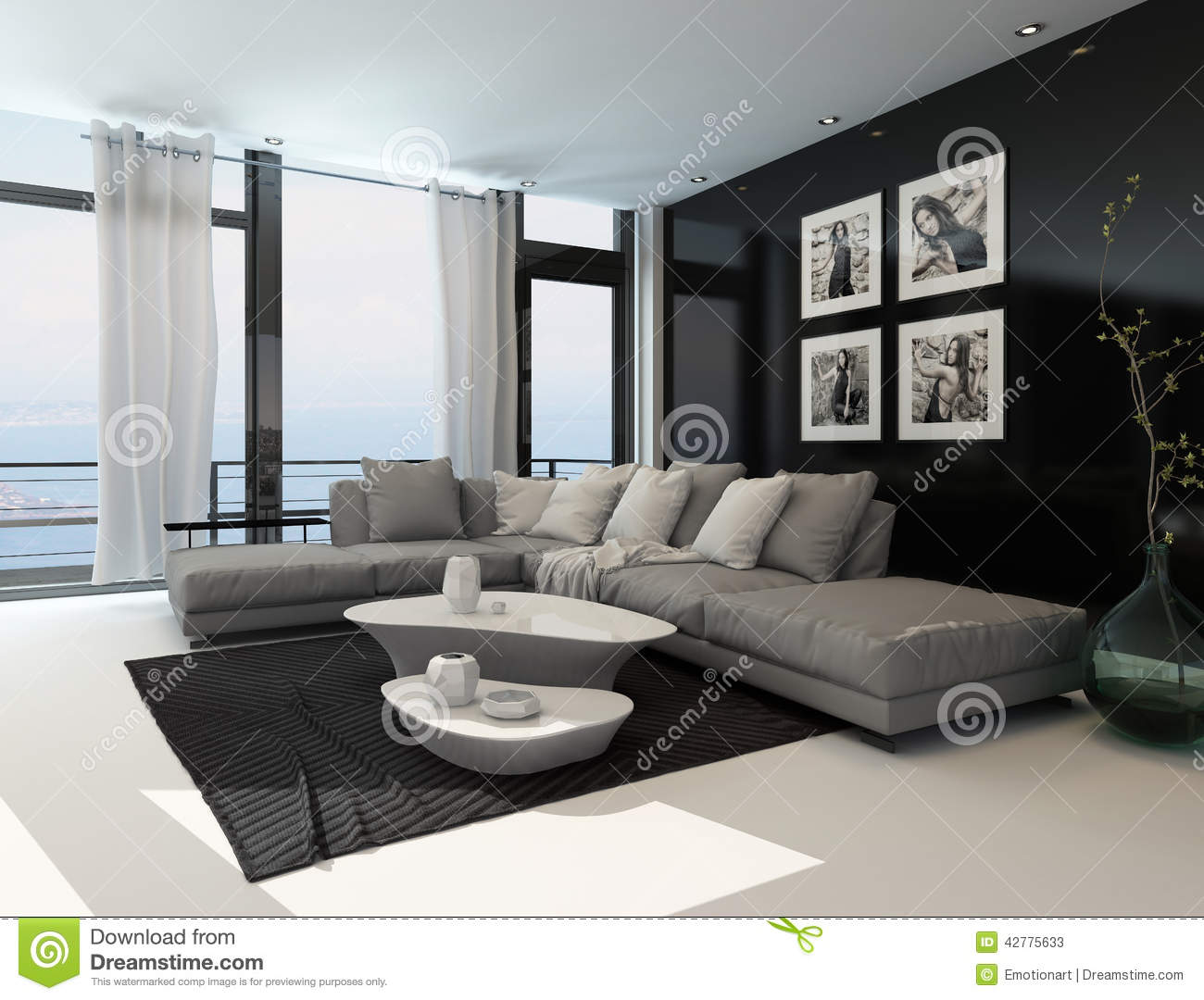 Lounge interior with a dark accent wall stock illustration