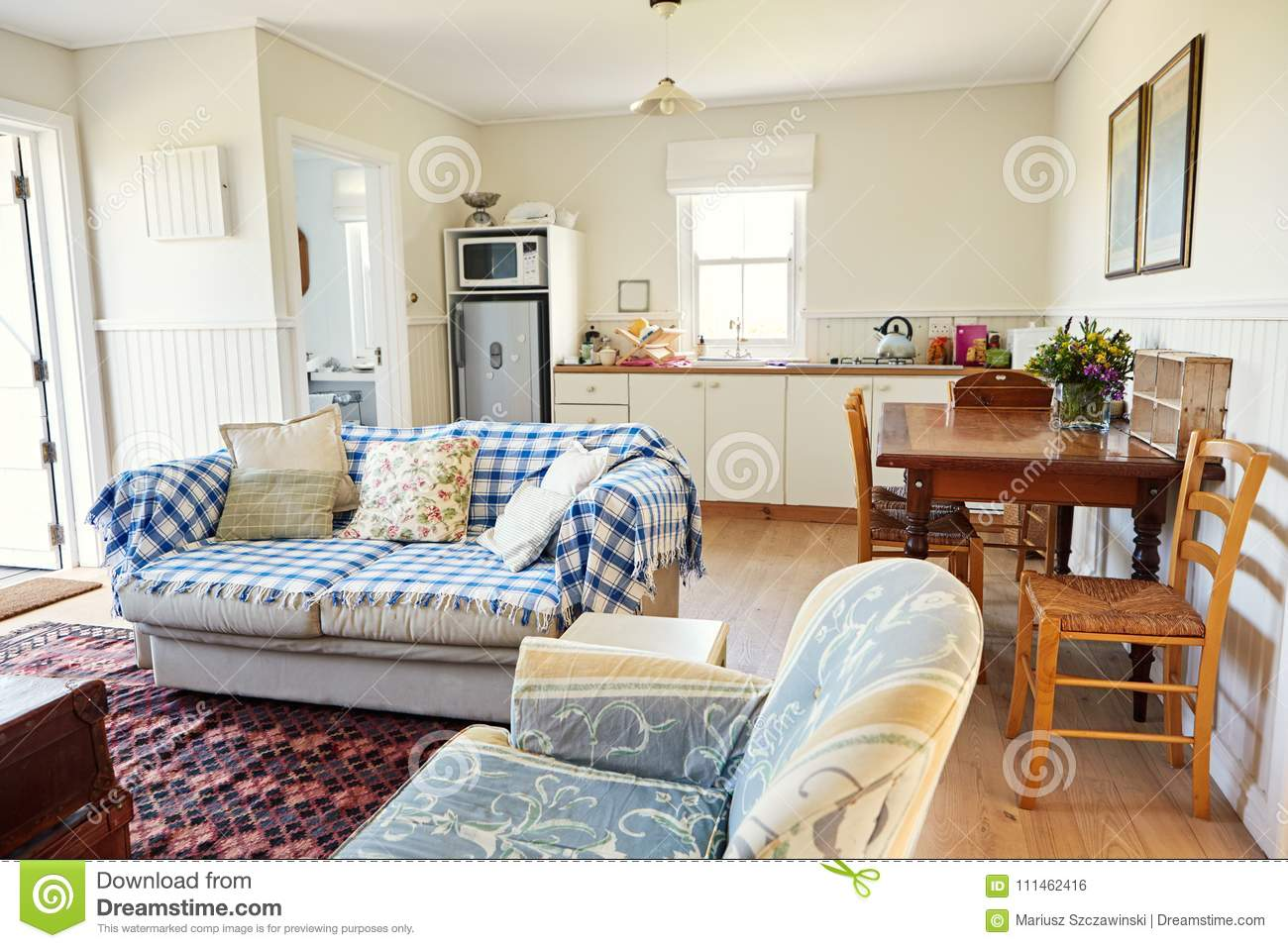 Lounge And Kitchen In A Small Country Home Stock Photo ...