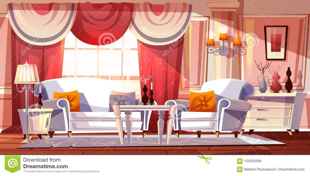Lounge Room Luxury Interior Vector Illustration Stock Vector Illustration Of Pillow Palace 124503568