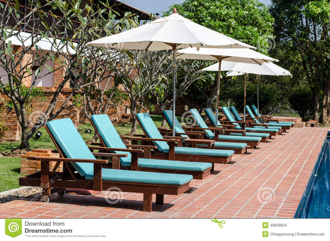 Lounge Sunbed Beach Chairs Near Swimming Pool Stock Image