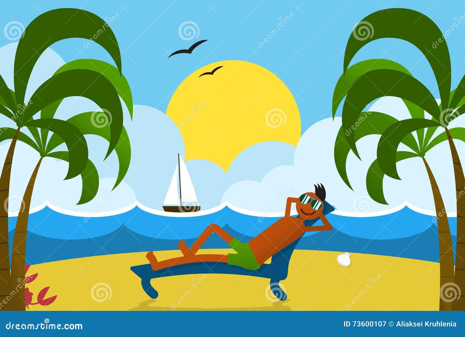 lounging man on beach stock vector image 73600107 beach chair clip art free beach chair clip art templates