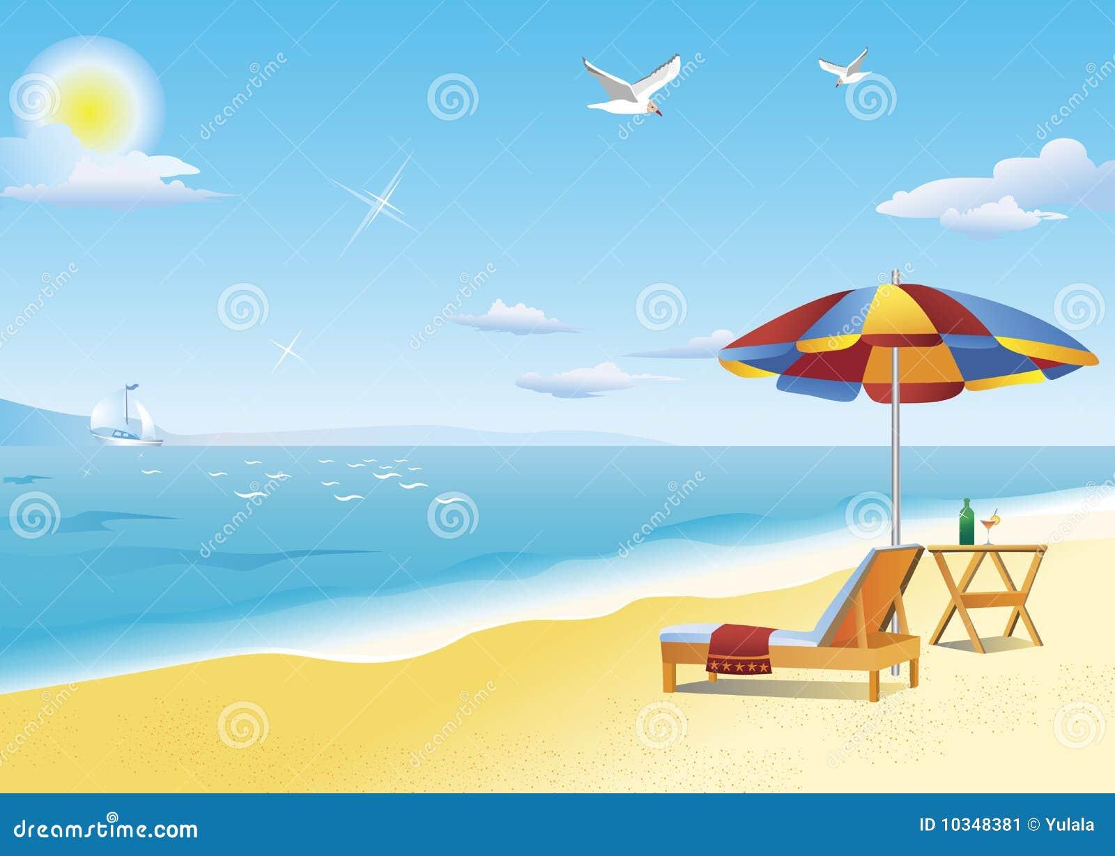 Loungue de la calesa vector de la playa y parasol de - Toldos para la playa ...