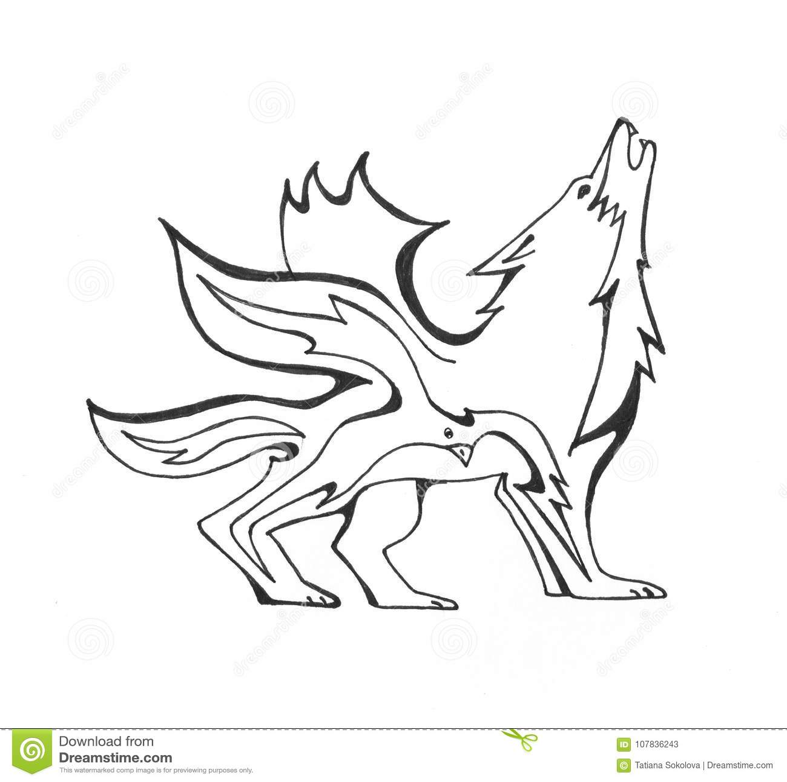 Loup Du Feu Et Un Oiseau Illustration De Vecteur