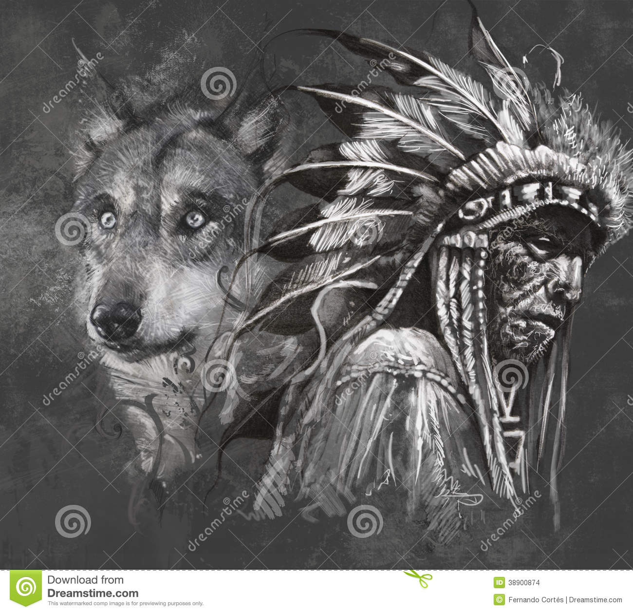 Loup Et Chef Indien Tatouage Illustration Stock Illustration Du