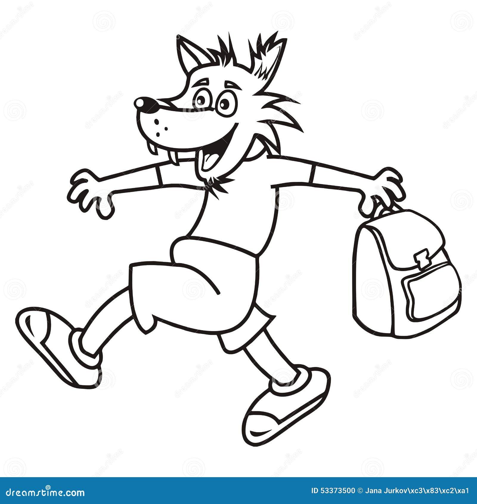 Loup et sac livre de coloriage illustration de vecteur - Image loup dessin ...