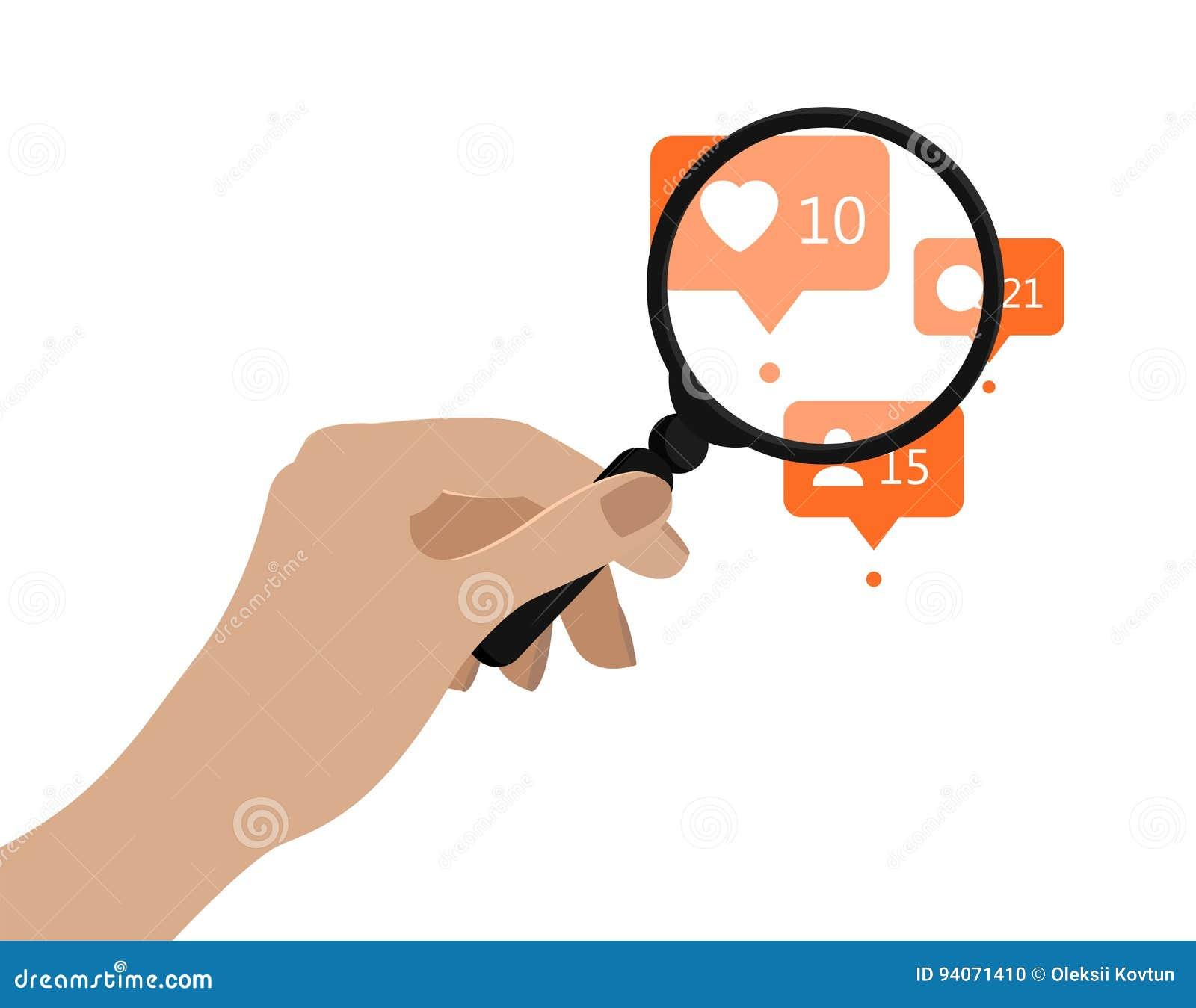 Loupe de fixation de main Illustration de vecteur Concept social d analytics de media Icônes oranges d avis dessous