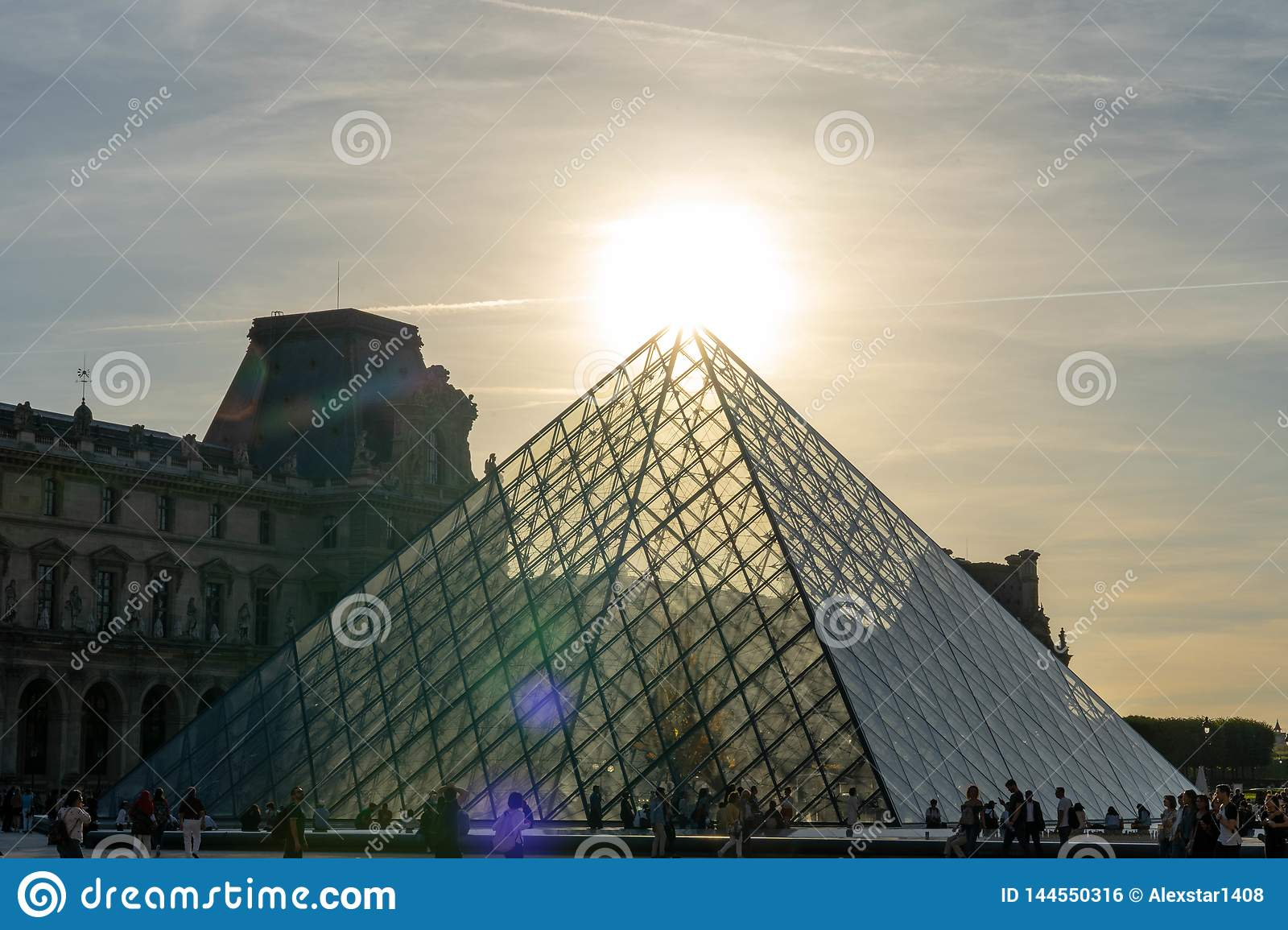 Louvre building pyramid in paris france