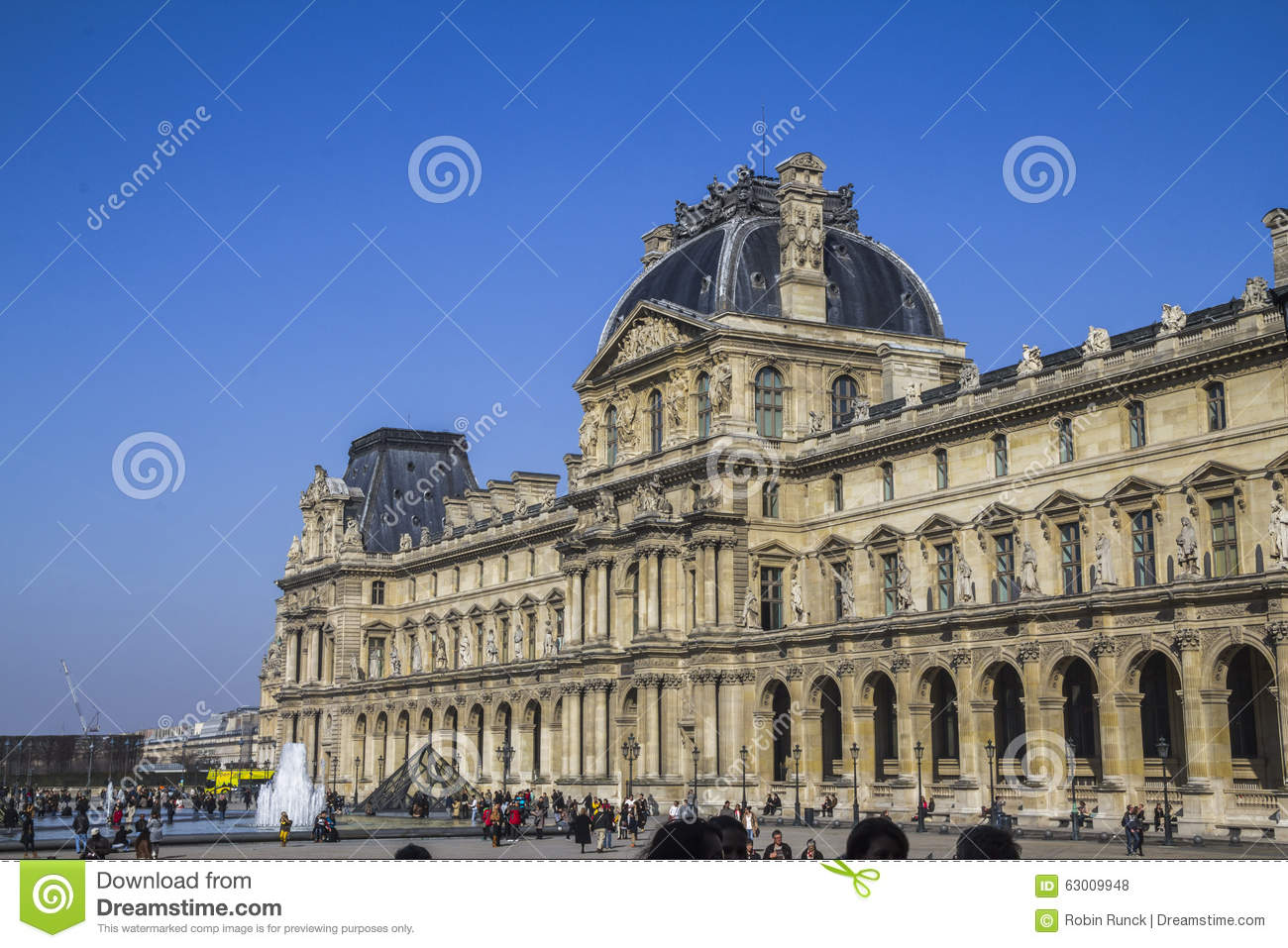 The louvre building in paris editorial stock photo image 63009948 - Construction of the louvre ...