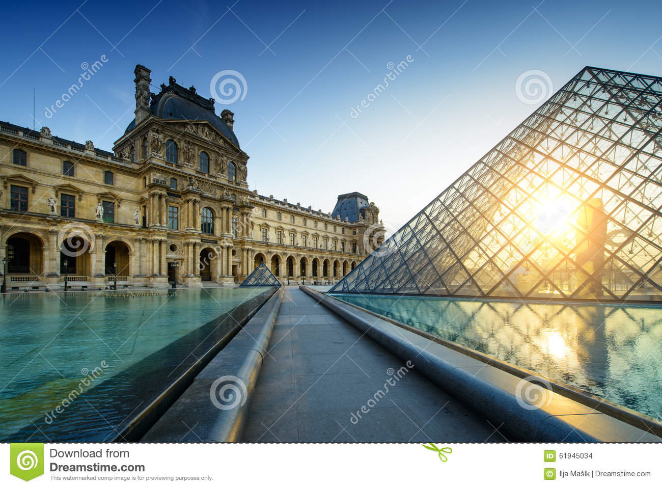 Louvre Museum Paris at sunset