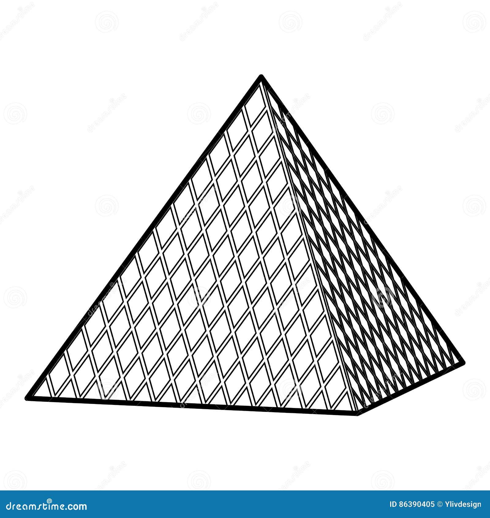Louvre Pyramid Paris France Stock Illustrations – 52 Louvre Pyramid ...