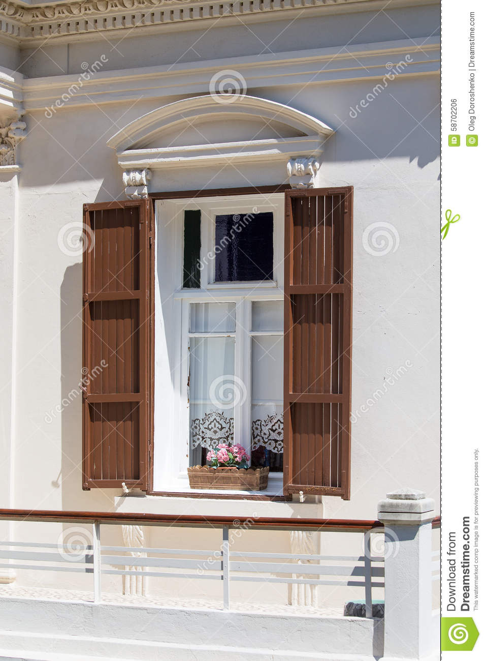 Balcony with balustrade and louvre doors royalty free for Balcony louvres