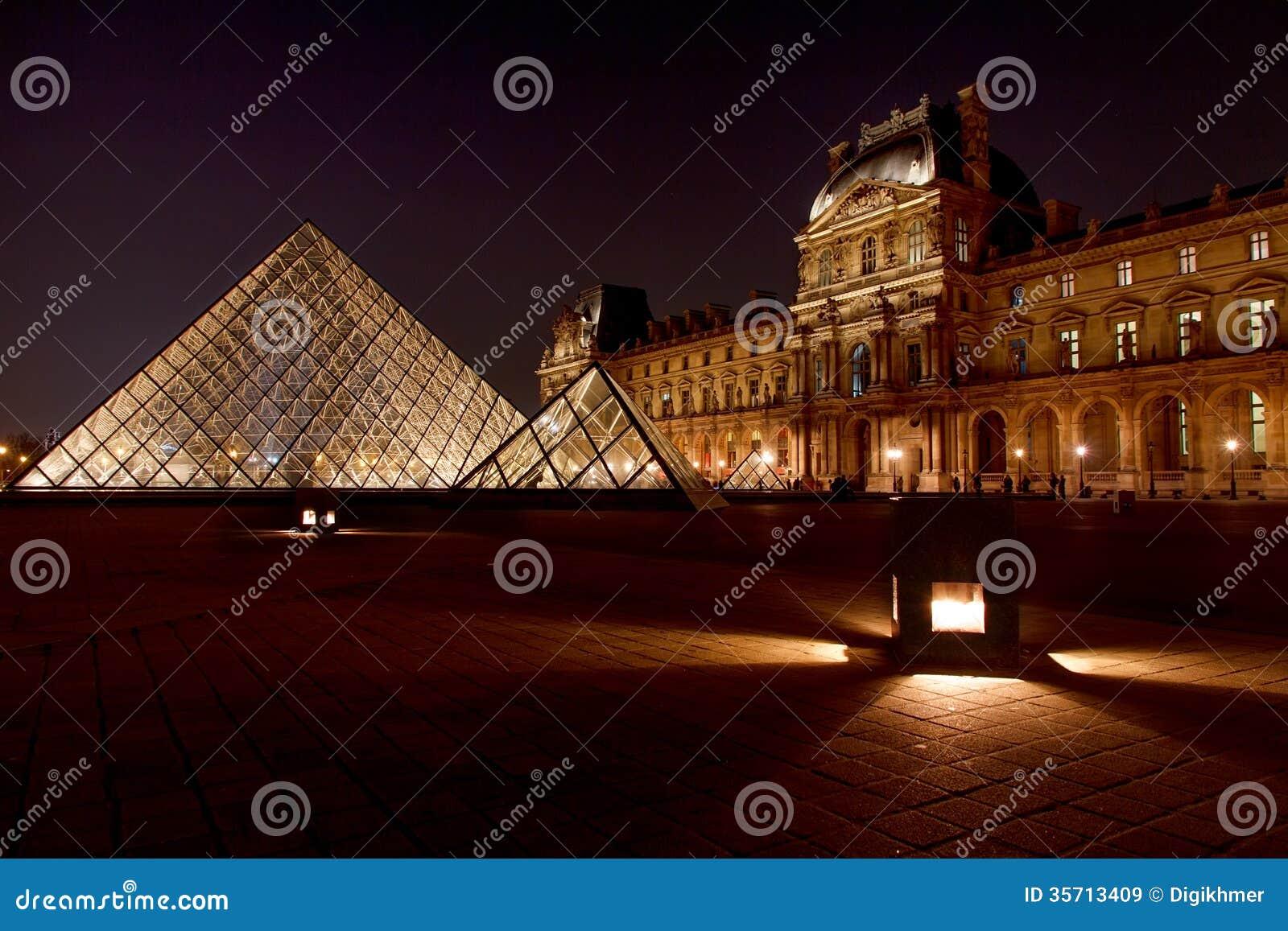 Louvremuseum och dess pyramid