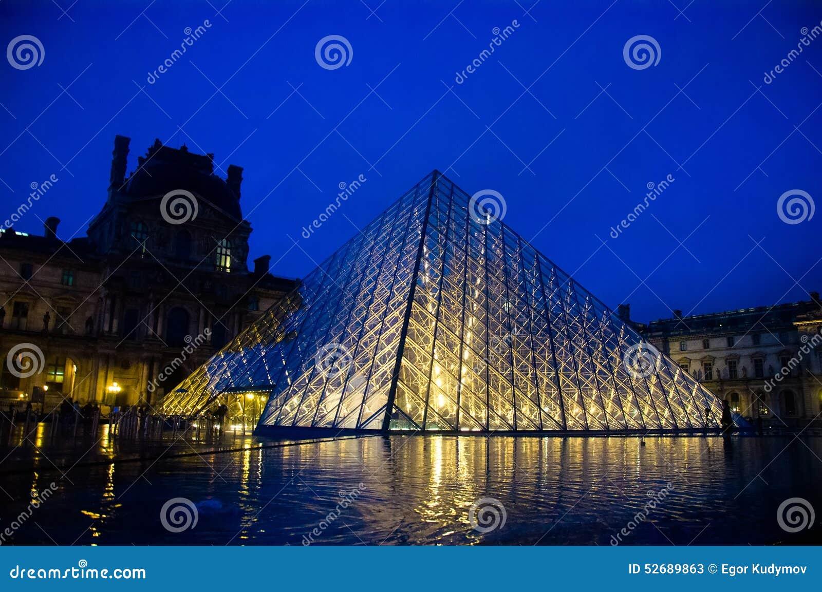 Louvremuseum på skymning