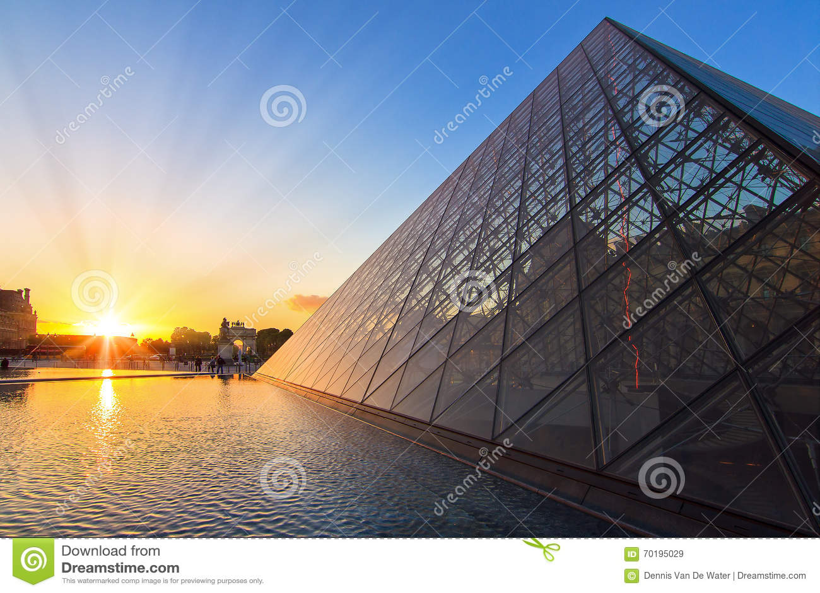LouvreParis solnedgång