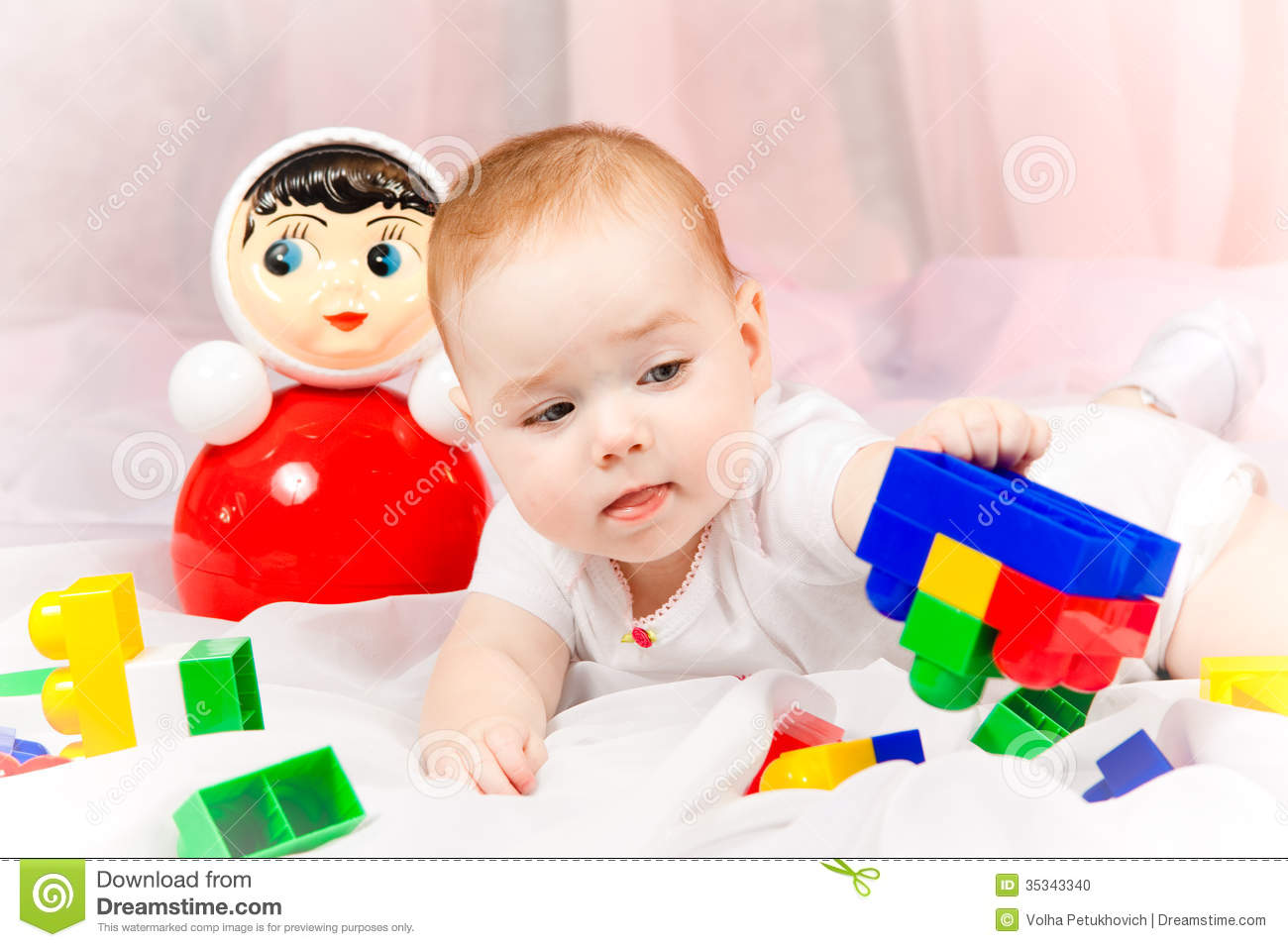 Lovable Baby With Toys Stock Photo Image 35343340