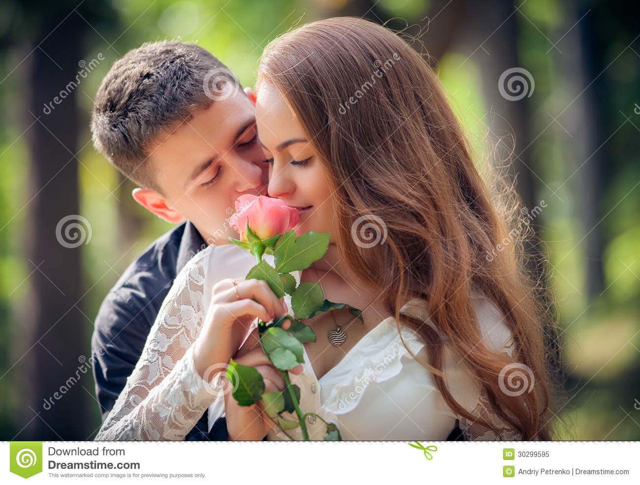 Love And Affection Between A Young Couple Royalty Free