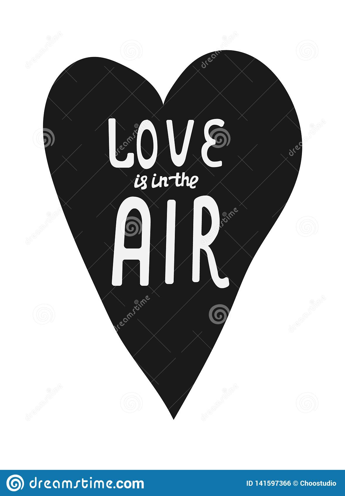 Download Love Is In The Air Hand Drawn Lettering Design Stock ...