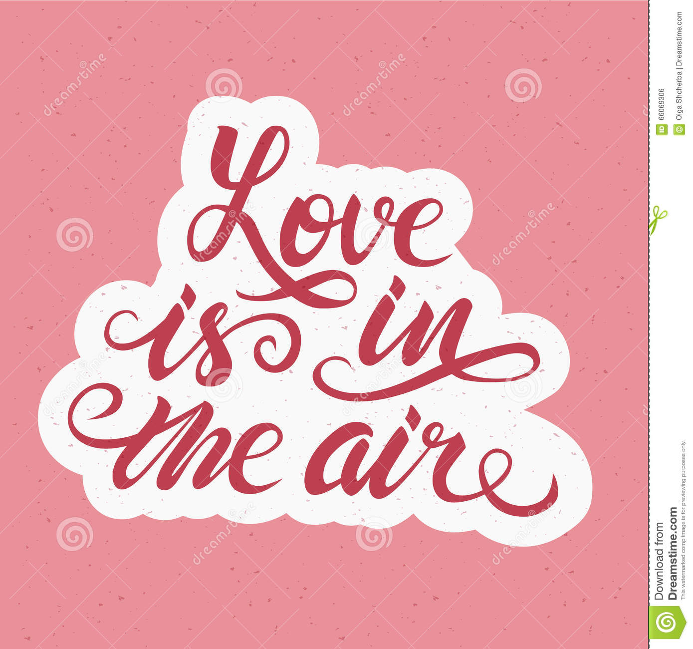 Download Love Is In The Air Romantic Hand Drawn Lettering Poster ...