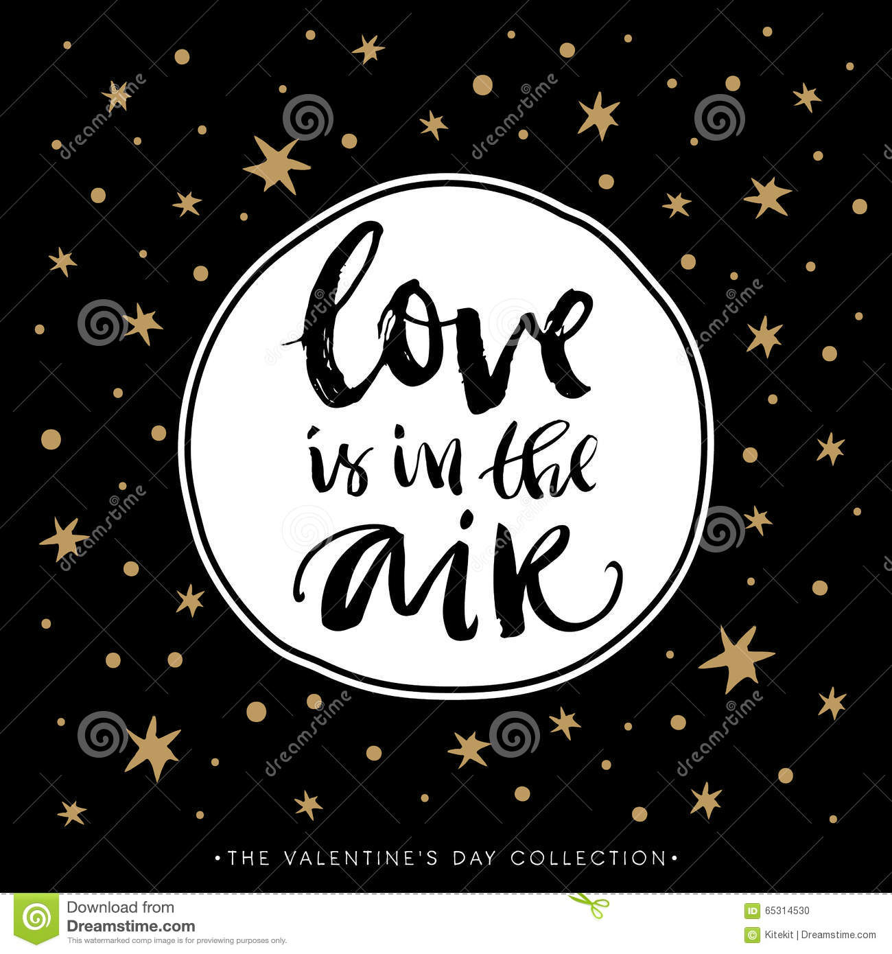 Love Is In The Air Valentines Day Calligraphic Card Stock Vector