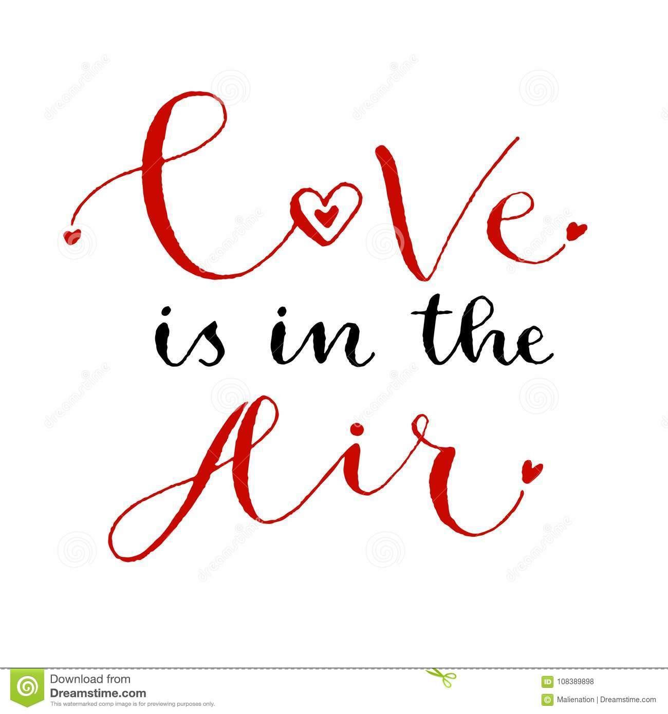 Love Is In The Air Valentines Day Print Handwritten Greeting Card