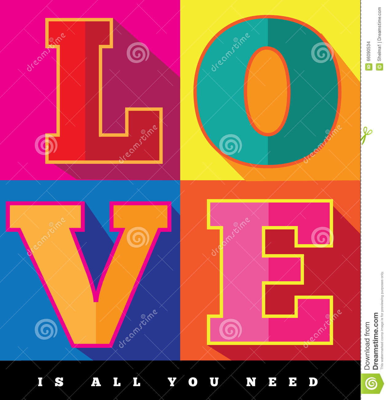 Poster design 60s - Love Is All You Need Flat Design Pop Art Poster Stock Images