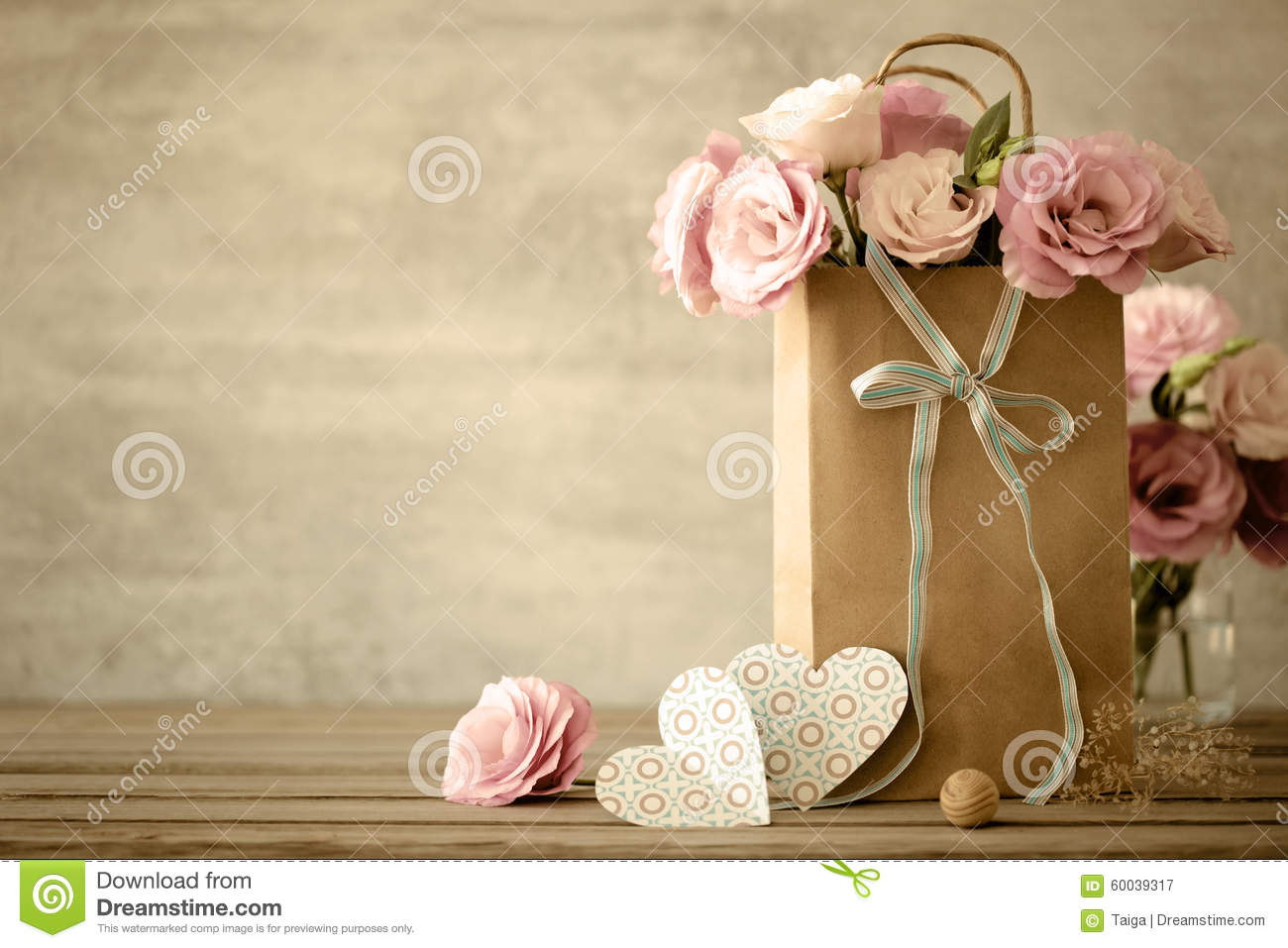Love background with flowers and bow