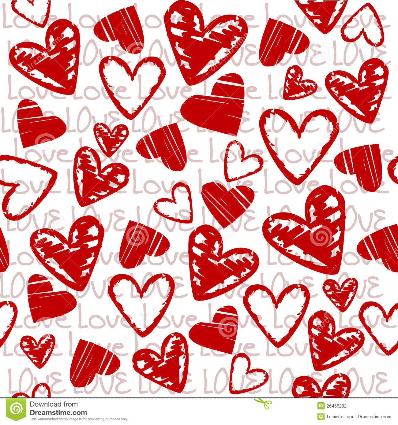 Love background with stylized hearts