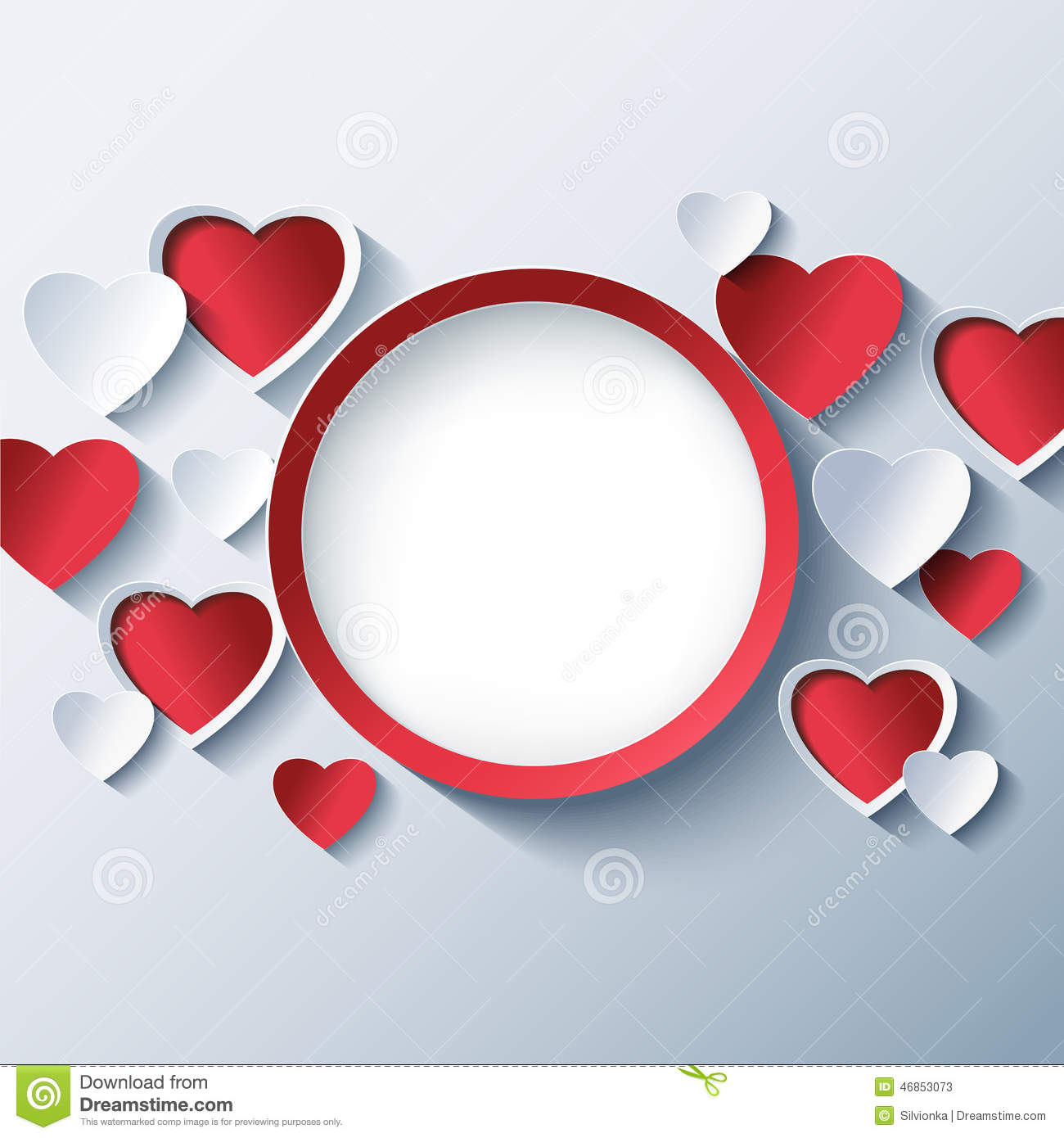 Love Background, Valentines Day Frame With 3d Hearts Stock Vector ...