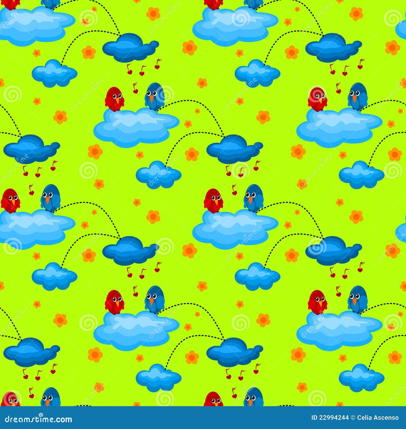 Love Bird in a Cloudy Garden Seamless Pattern