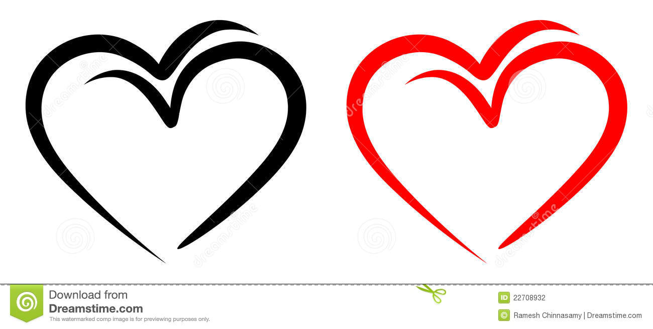 Love birds with red and black two hearts