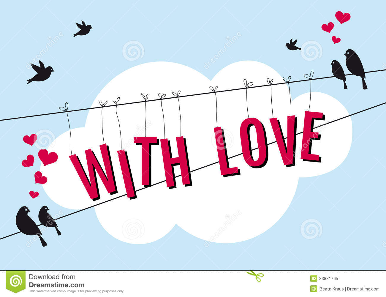 Love With Birds In Blue Sky, Vector Stock Vector - Illustration of ...