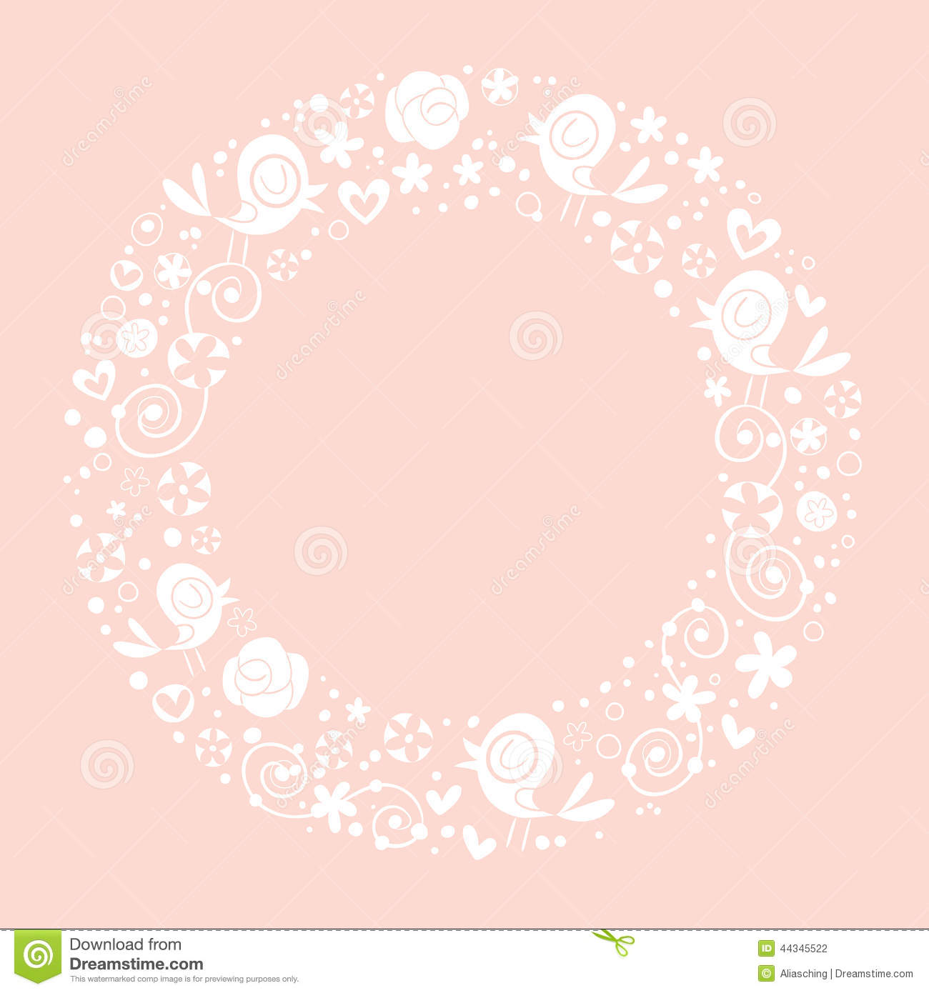 Vector round frame with pink flowers on white background in pastel - Background Border Bright Circle Design Frame