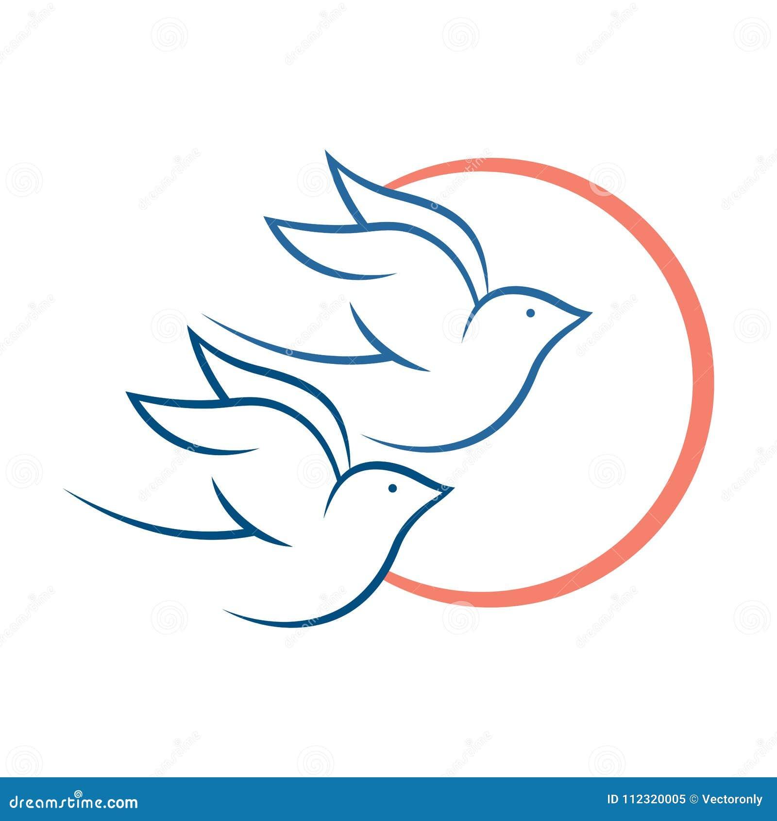 Love Birds Flying Suitable For Logo Stock Vector Illustration Of White Simple 112320005