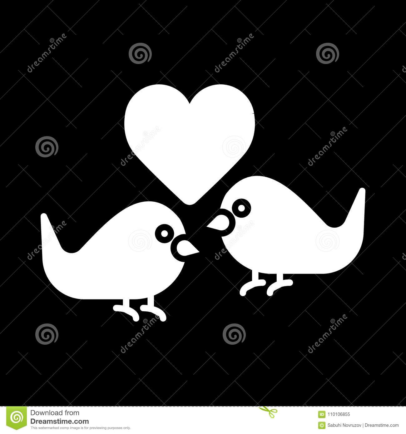 Love birds with heart icon vector flat sign solid pictogram love birds with heart icon vector flat sign solid pictogram isolated on black valentines day lover bird symbol logo little single buycottarizona Images