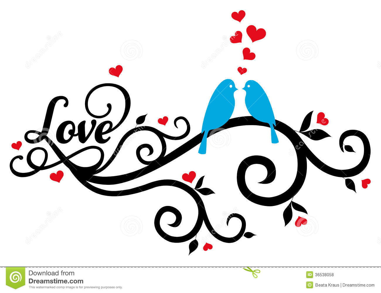Love Birds With Red Hearts Vector Stock Vector