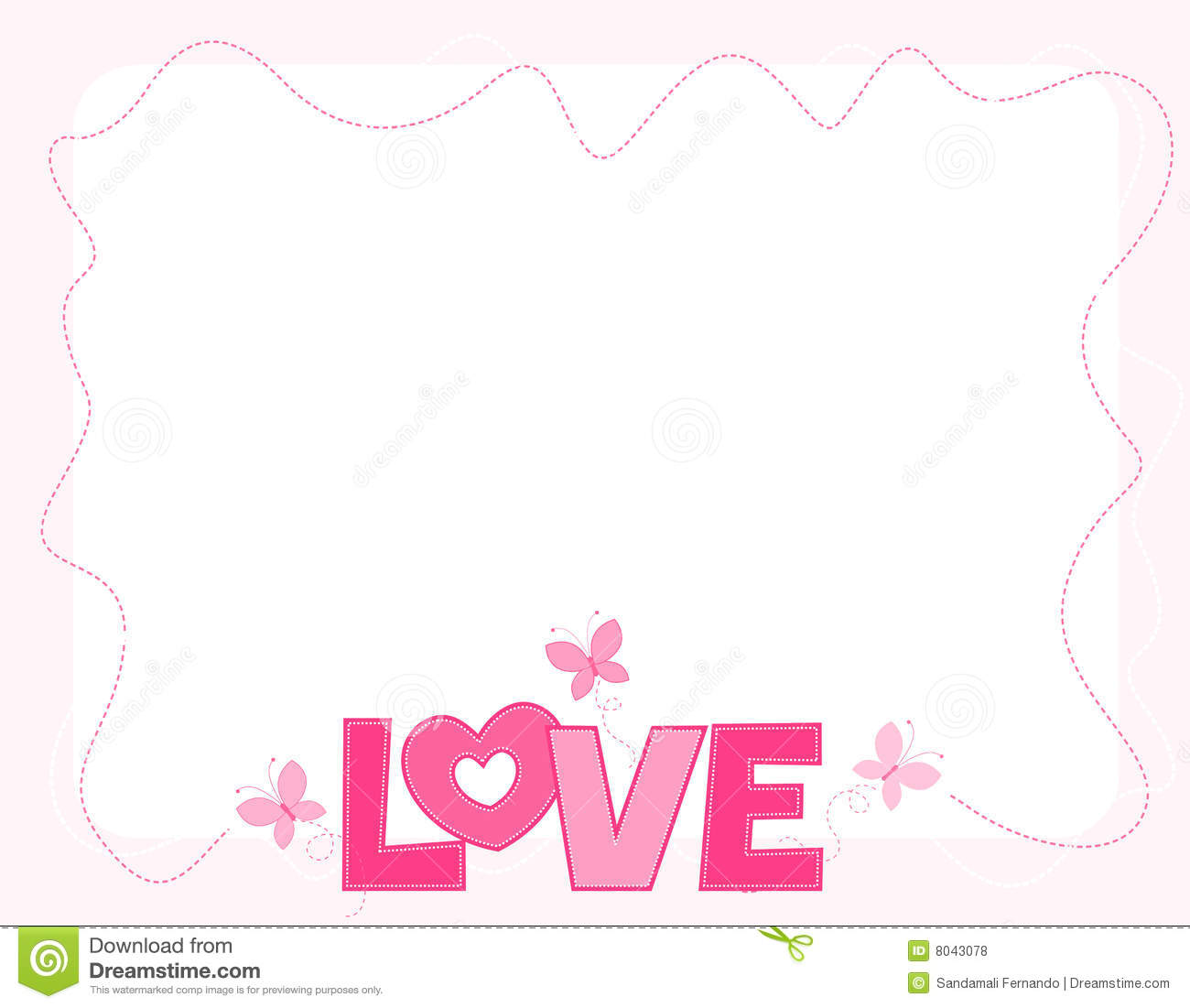 Cute pink love word with butterflies border / frame for valentines day ...
