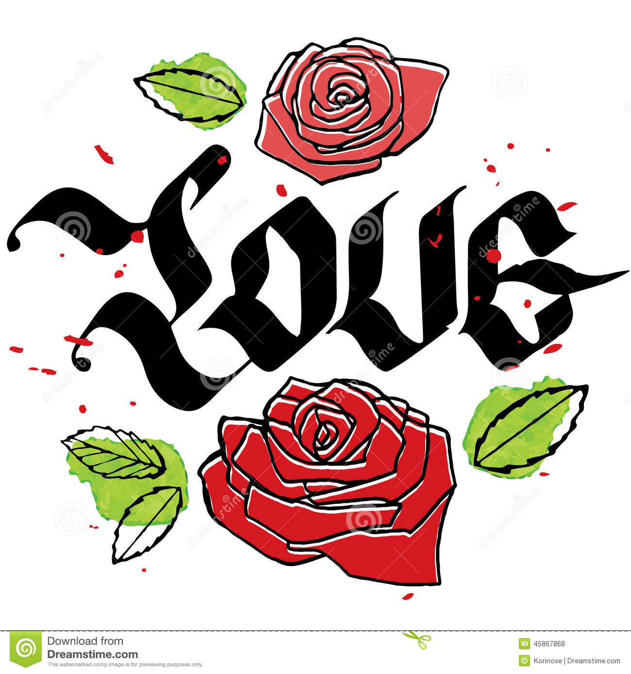 Love Calligraphy Word With Roses Stock Vector - Illustration of ...