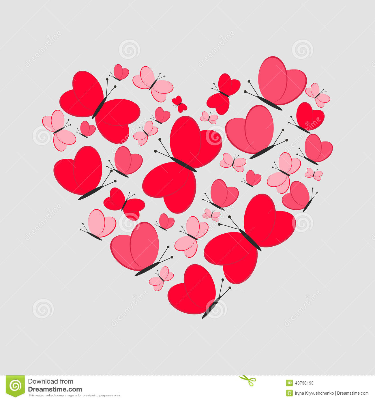Love Card Cute Heart From Red Butterflies Vector