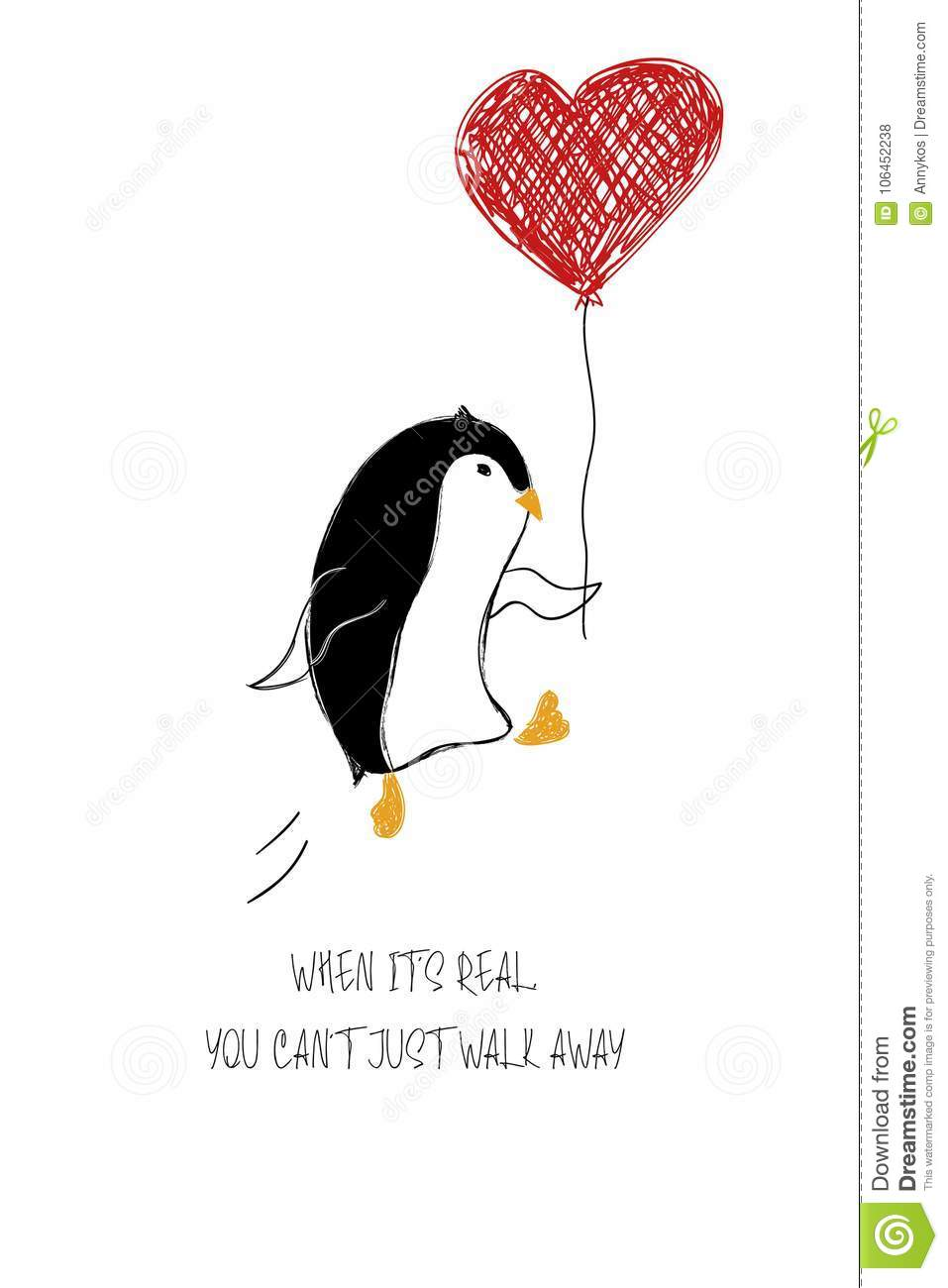 Love Card With Cute Penguin Stock Vector Illustration Of Enamored