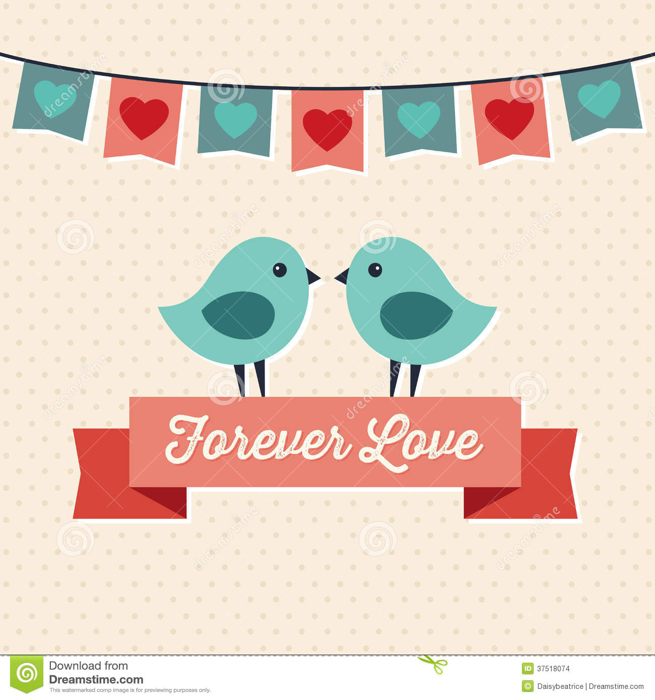 Love card design with two cute birds stock vector image The designlover
