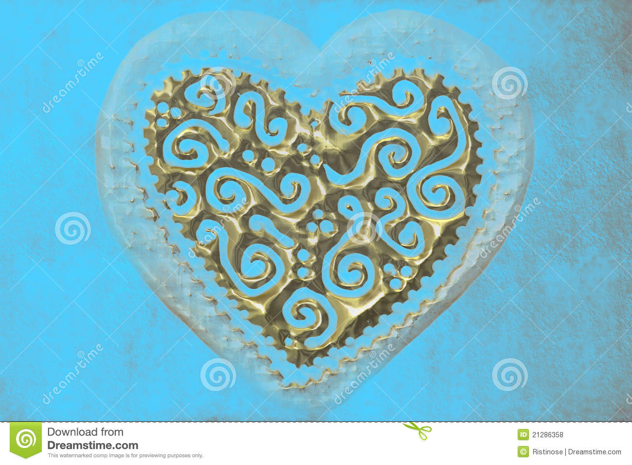 Love Card Heart Of Gold On Turquoise Background Stock Photo Image