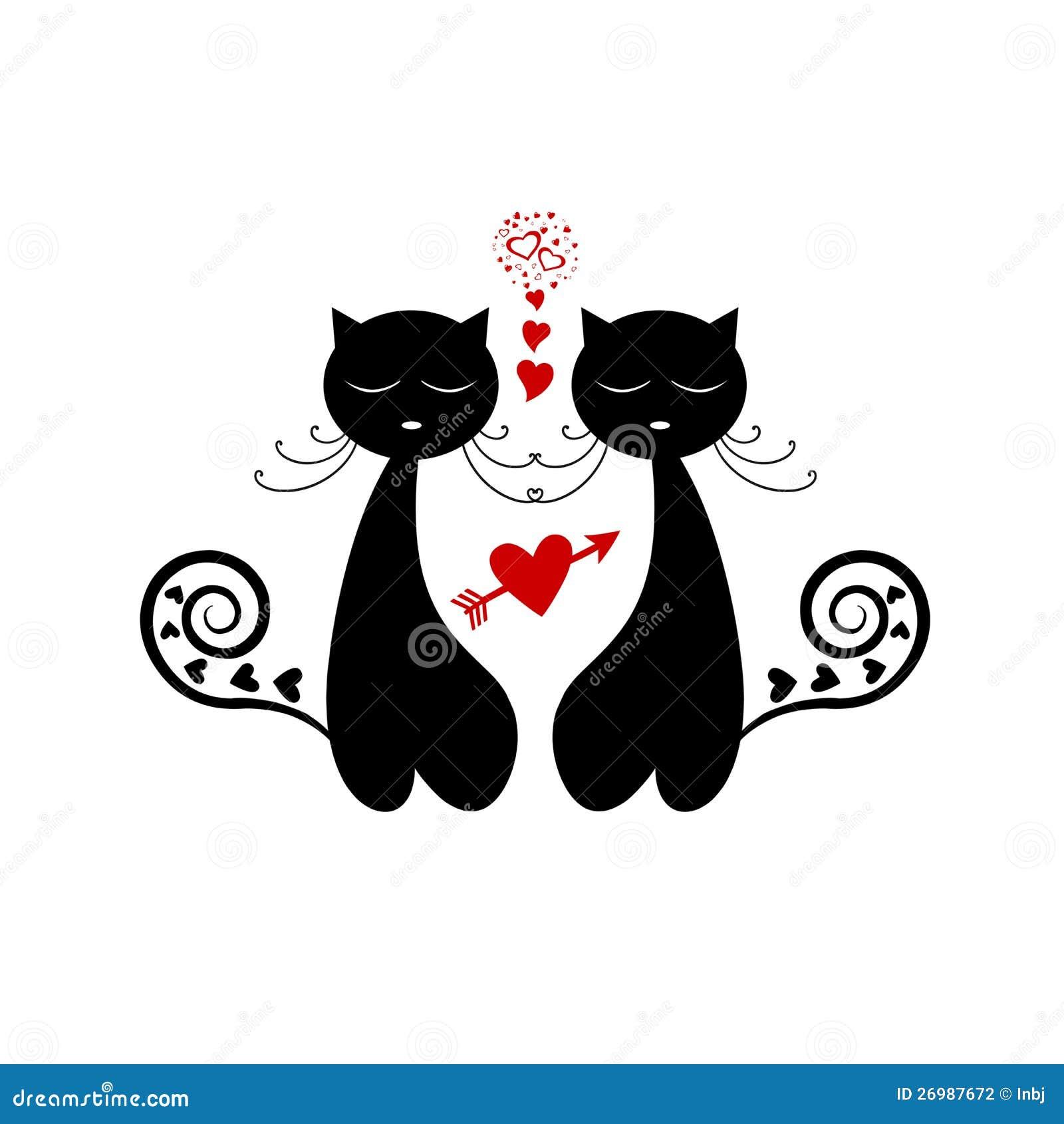 love cat silhouette stock vector illustration of outline kitten clipart gif kitchen clip art borders