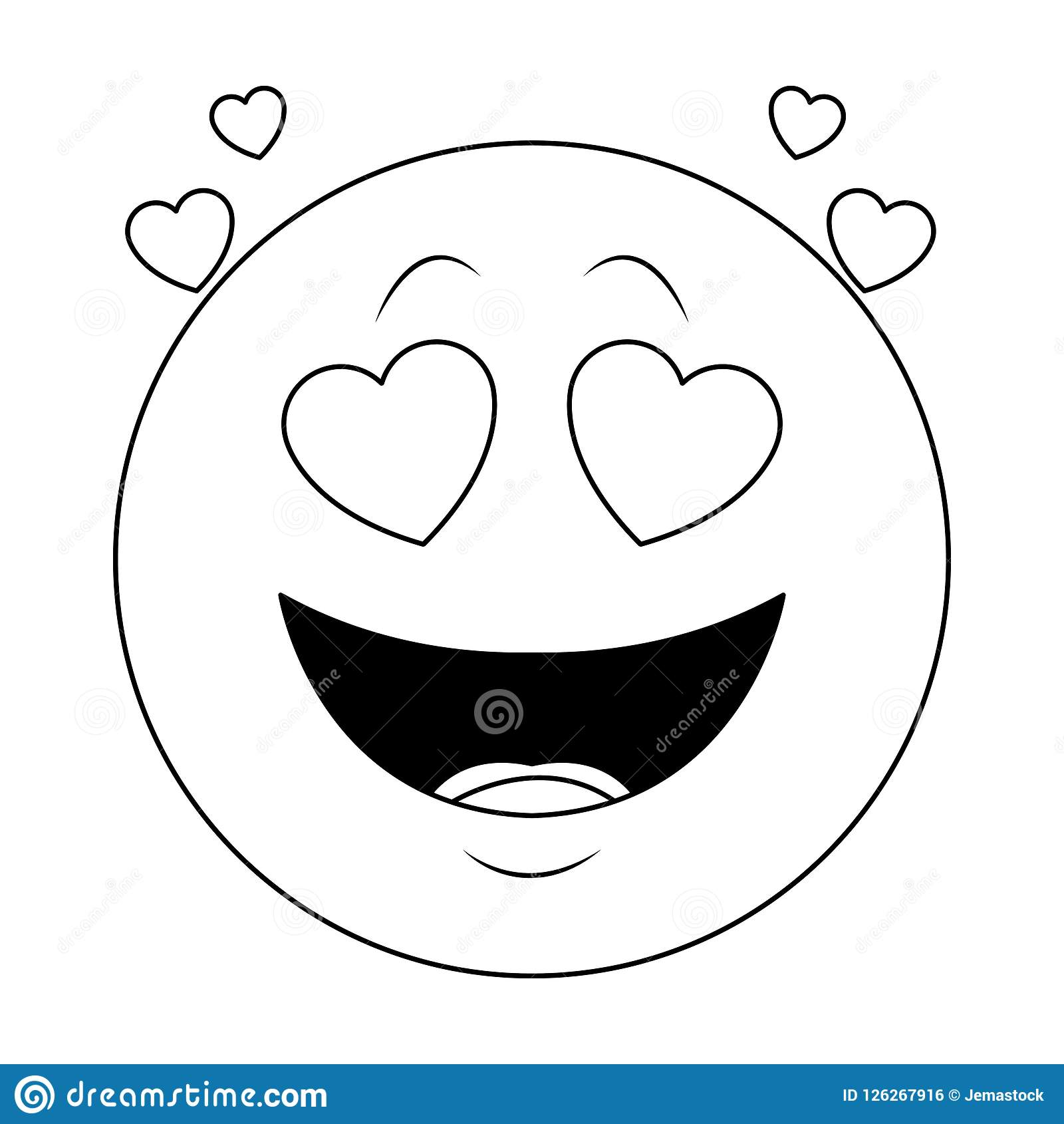 In Love Chat Emoticon In Black And White Stock Vector Illustration Of Happy Social 126267916