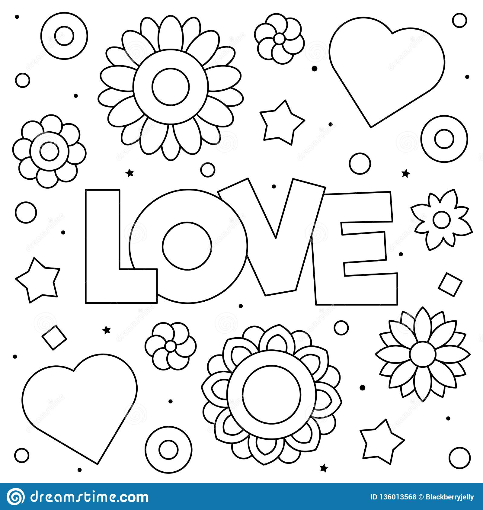 Love. Coloring Page. Black And White Vector Illustration ...