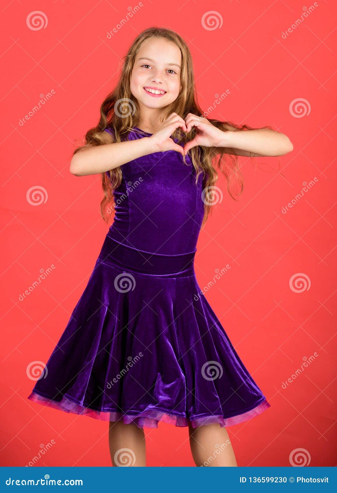 76b07a1761fb Love Concept. Girl Cute Child Show Heart Shaped Hand Gesture. Love ...
